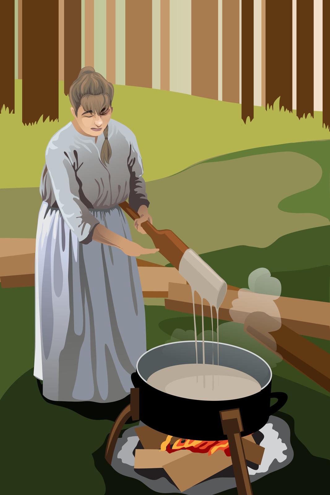 Fotografia przedstawiająca domowe wytwarzanie mydła na początku XX w.