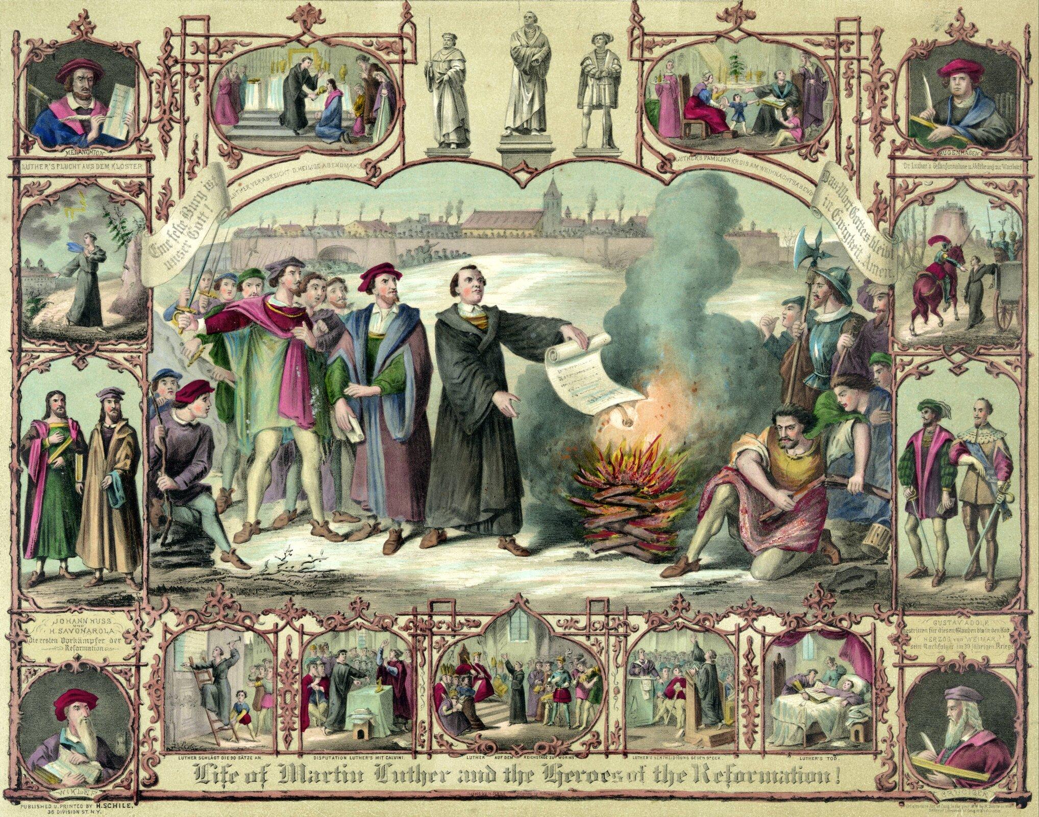 Życie Marcina Lutra Źródło: H. Breul, Życie Marcina Lutra, XIX wiek, litografia, domena publiczna.