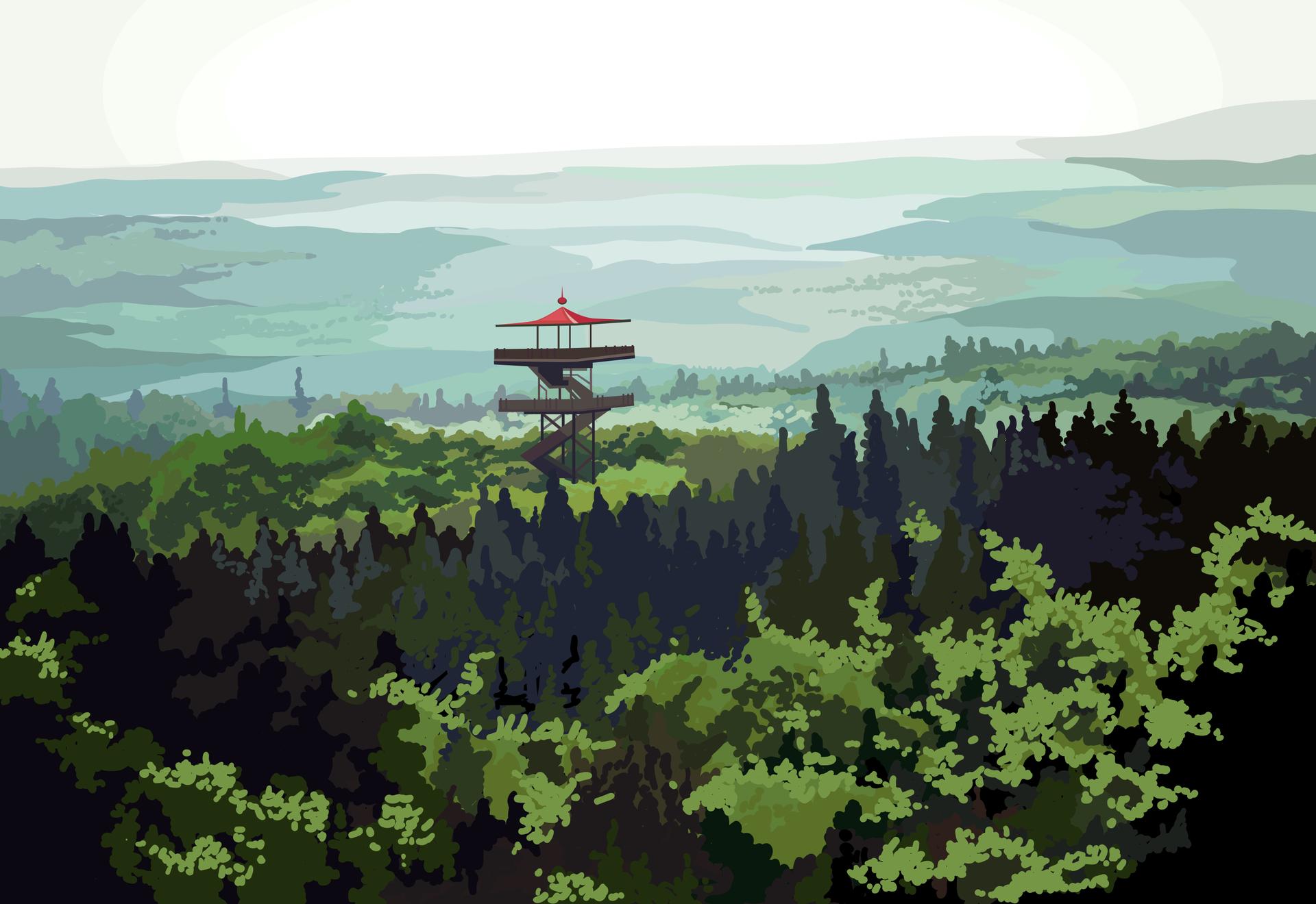 Realistyczna grafika przedstawiająca Wieżycę, na szczycie której znajduje się wieża widokowa umożliwiająca podziwianie krajobrazów.