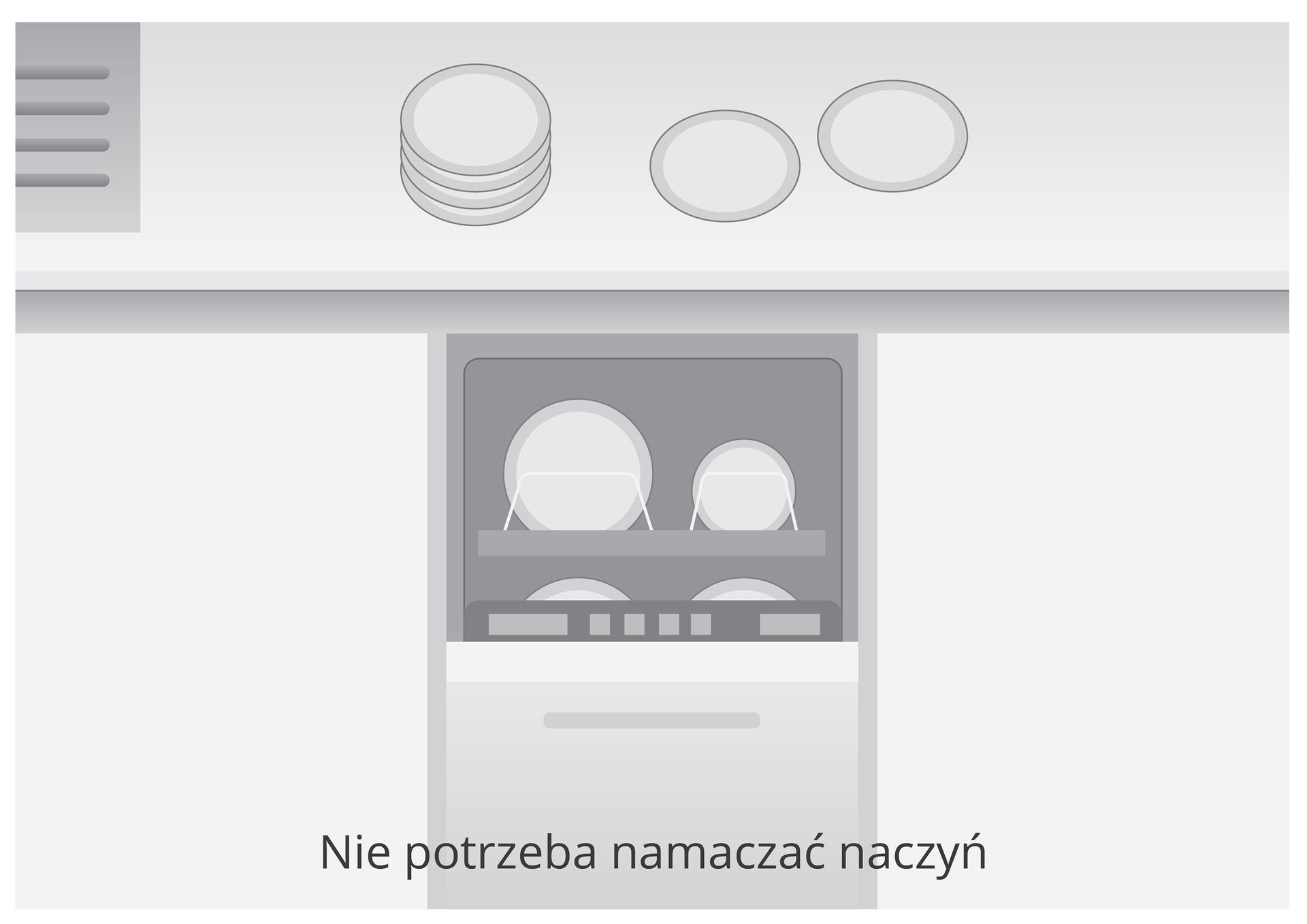 Trzecia ilustracja wgalerii. Przedstawia czarno biały rysunek fragmentu blatu kuchennego wraz zszafkami pod blatem iotwartą zmywarką do naczyń. Na blacie iwzmywarce widać talerze. Napis na obrazku głosi: Nie potrzeba namaczać naczyń.