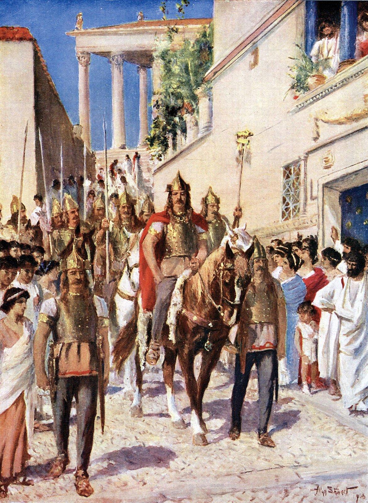 Parada Alaryka na ulicach Aten po zdobyciu miasta. Malowidło z1920 roku Parada Alaryka na ulicach Aten po zdobyciu miasta. Malowidło z1920 roku Źródło: domena publiczna.