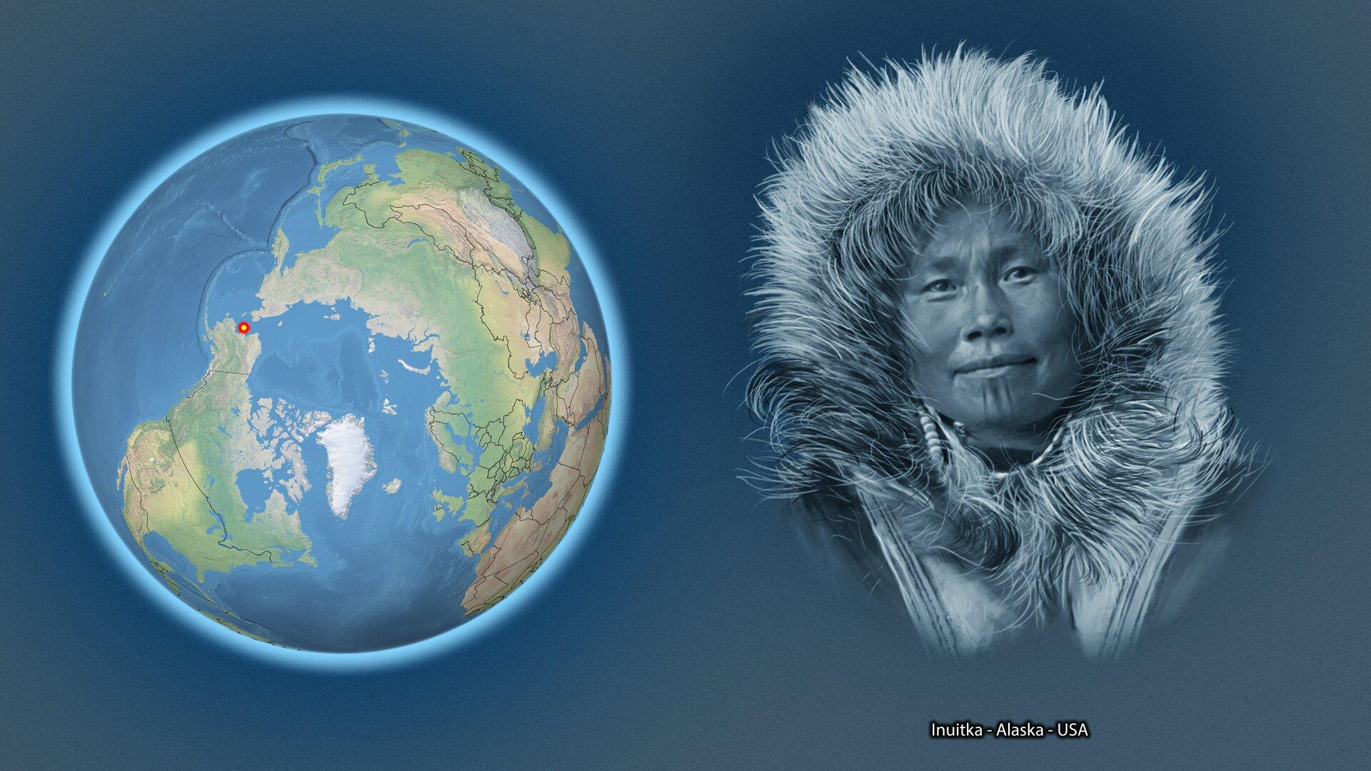Na ilustracji kula ziemska zzaznaczonym czerwonym punktem – Alaska – USA. Obok twarz kobiety wfutrzanej czapce. Podpis – Inuitka – Alaska – USA