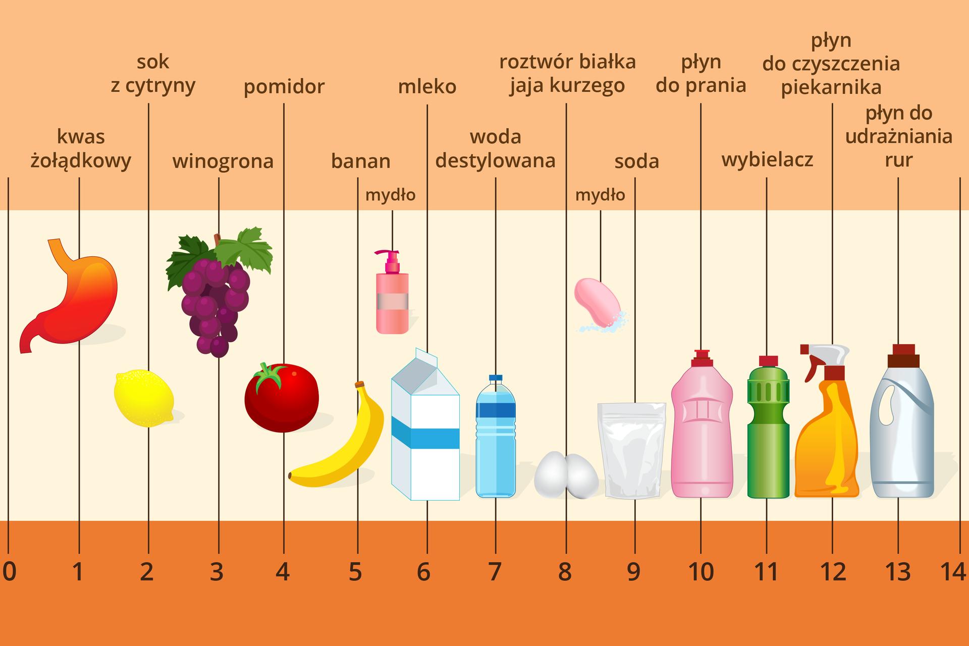 Kolorowa tabela opisująca odczyn przykładowych substancji wskali pH. Wdolnej części ilustracji znajduje się skala ponumerowana od zera do czternastu. Wcentralnej części umieszczono rysunki różnych przedmiotów, obiektów naturalnych isubstancji, awgórnej części ich nazwy. Ztabeli można się dowiedzieć, że kwas żołądkowy ma odczyn pH wynoszący 1, sok zcytryny dwa, winogrona trzy, pomidory cztery, banany pięć, mydło wpłynie pięć ipół, mleko sześć, woda destylowana siedem (a więc jest obojętna), białko jajka kurzego osiem, mydło tradycyjne osiem ipół, soda dziewięć, płyn do prania dziesięć, wybielacz jedenaście, płyn do czyszczenia piekarnika dwanaście, apłyn do udrażniania rur trzynaście.