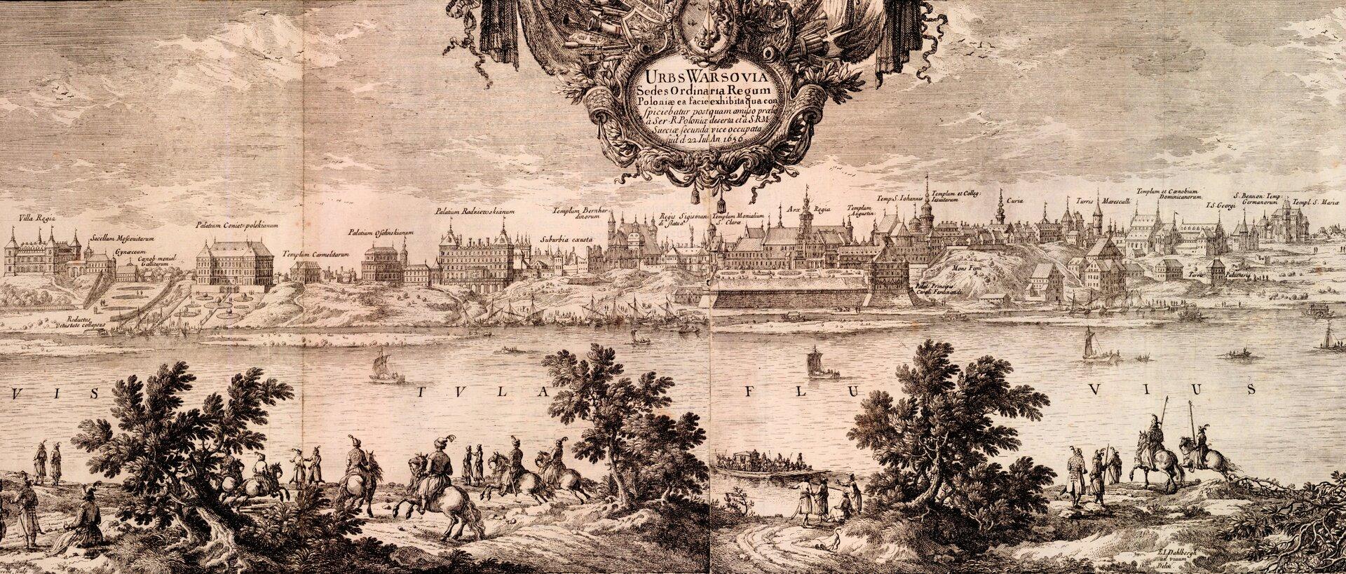 Samuel von Pufendorf, Oczynach Karola Gustawa, króla Szwecji, komentarzy ksiąg siedem, Norymberga 1696 Niebroniona Warszawa, zajęta przez wojska szwedzkie 8 września 1655 roku. Szwedzkimi oddziałami dowodziłKarol XGustaw. Źródło: Erik Dahlbergh, Samuel von Pufendorf, Oczynach Karola Gustawa, króla Szwecji, komentarzy ksiąg siedem, Norymberga 1696, 1655, domena publiczna.