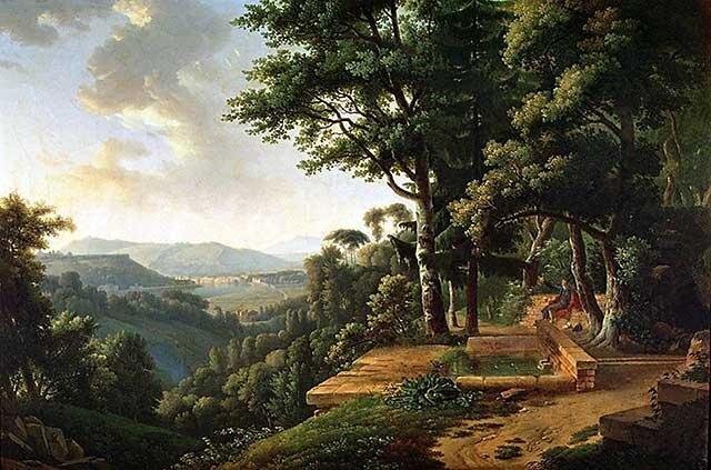 Jan Jakub Rousseau rozmyślający wparku Źródło: Alexandre Hyacinthe Dunouy, Jan Jakub Rousseau rozmyślający wparku, 1770, Musée Marmottan Monet, domena publiczna.
