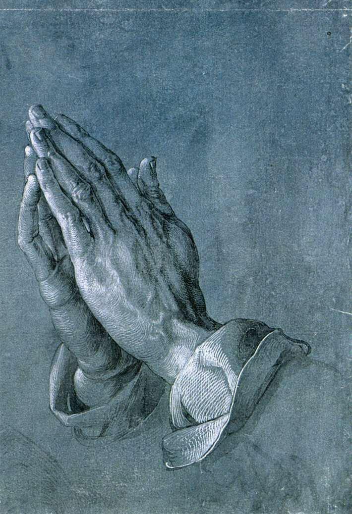 Modlące się dłonie Źródło: Albrecht Dürer, Modlące się dłonie, 1508, tusz na papierze, domena publiczna.