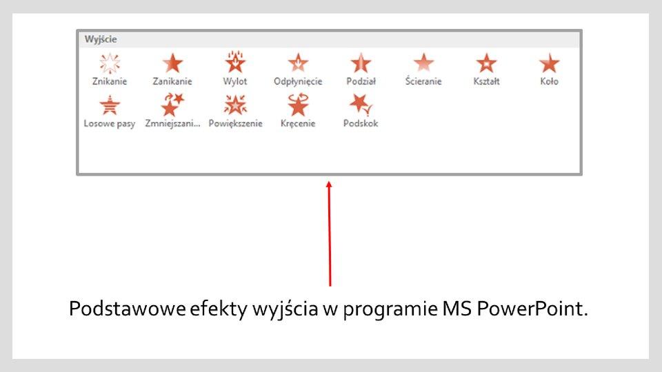 Slajd 2 galerii zrzutów okien zefektami wyróżnienia iwyjścia wprogramie MS PowerPoint