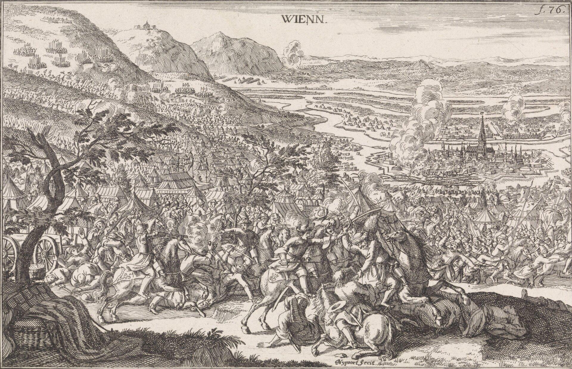 Oblężenie Wiednia Oblężenie Wiednia w1683 roku. Źródło: Justus van den Nijpoort, Oblężenie Wiednia, 1694, akwaforta, Rijksmuseum (hol. Muzeum Państwowe) wAmsterdamie, domena publiczna.