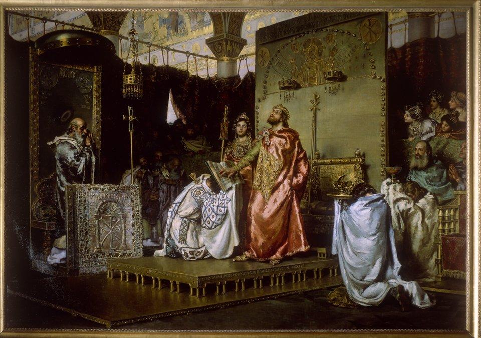 Król Rekkared wyrzekł się ariańskiej wiary przodków Król Rekkared wyrzekł się ariańskiej wiary przodków Źródło: Palacio del Senado de España , licencja: CC 0.
