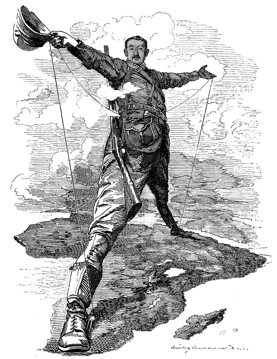 Karykatura Cecila Johna Rhodesa Źródło: Edward Linley Sambourne, Karykatura Cecila Johna Rhodesa, 1892, domena publiczna.