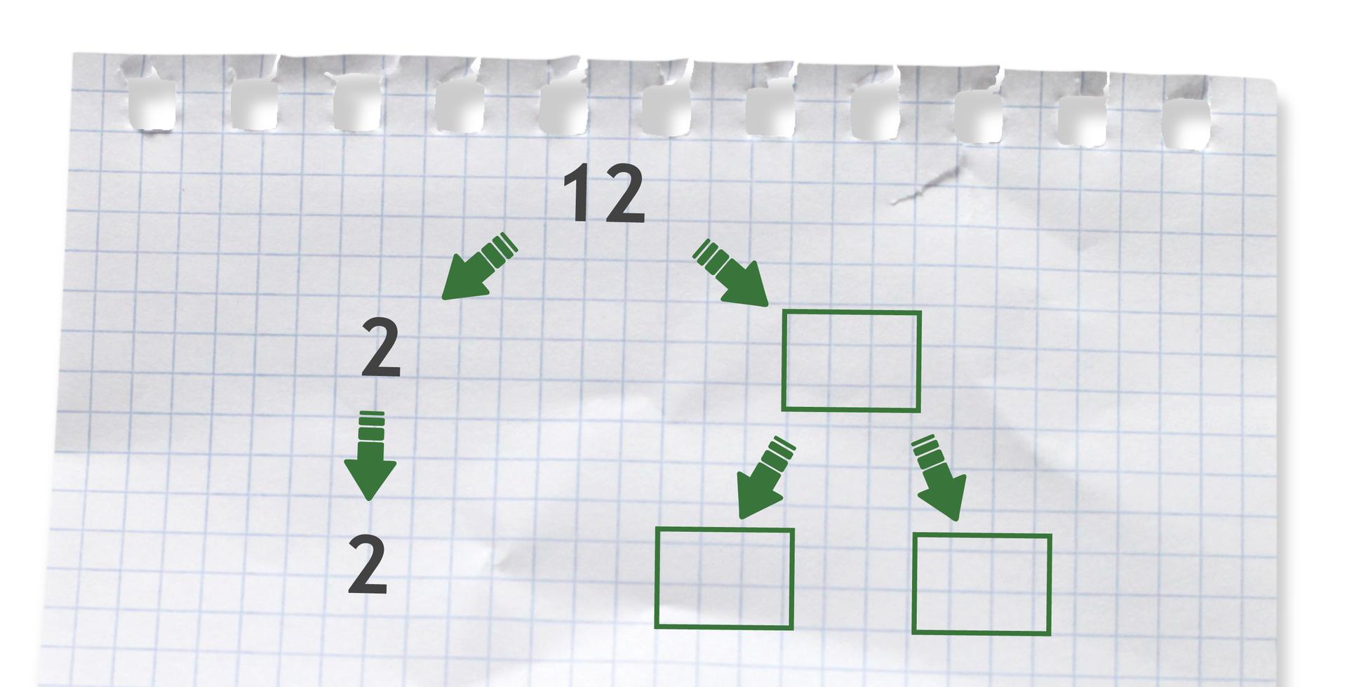 Rysunek drzewka do rozłożenia liczby 12 na czynniki pierwsze.
