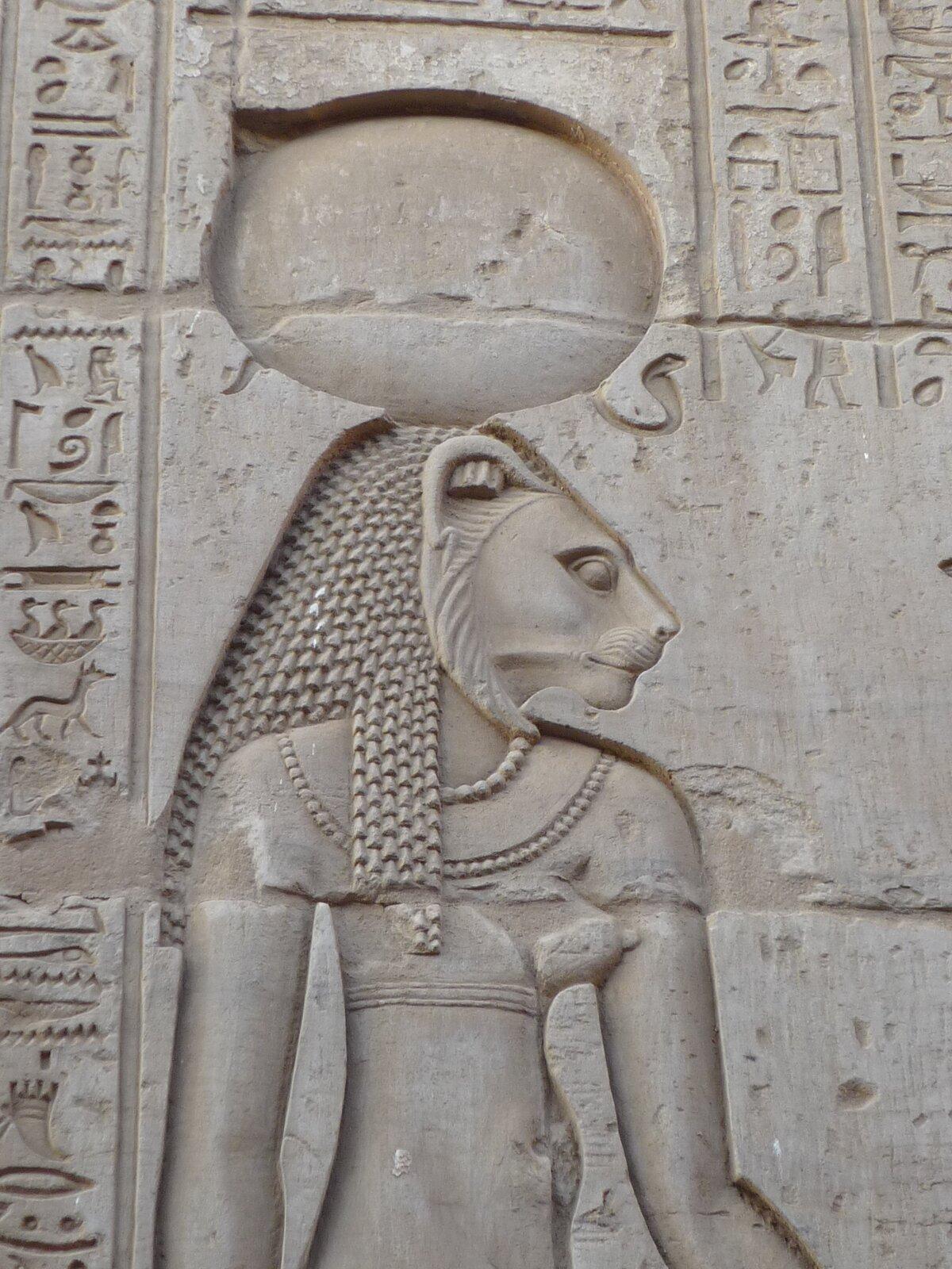 Ilustracja przedstawia fragment reliefu ze ściany świątyni wKom Obo wEgipcie. Na fotografii widać Horusa zgłową lwa. Jest ubrany wdopasowaną tunikę, na szyi ma korale. Na ścianie znajduje się tekst sporządzony pismem egipskim.