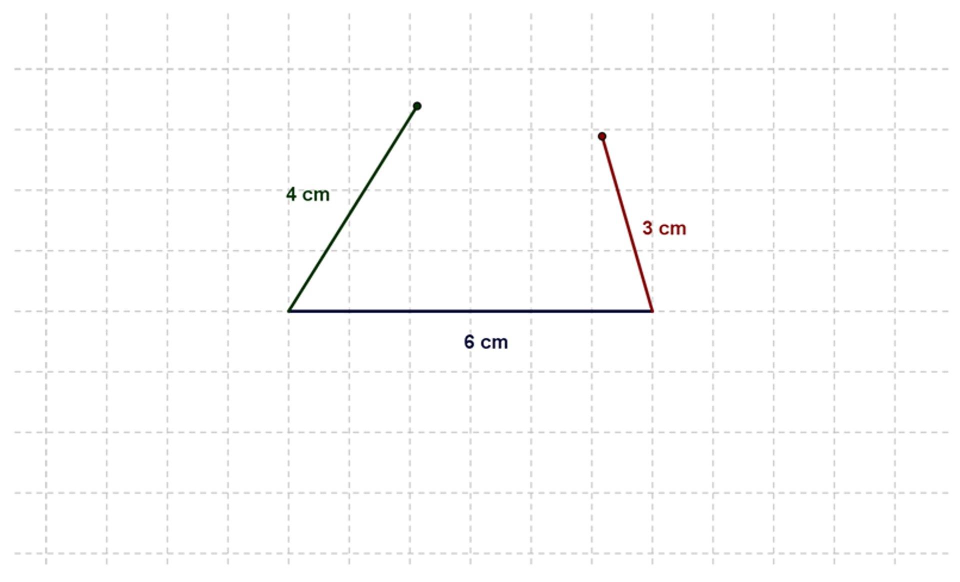 Rysunek odcinka odługości 6 cm. Do jego końców dorysowane są odcinki odługościach 4 cm i3 cm, które nie łączą się.