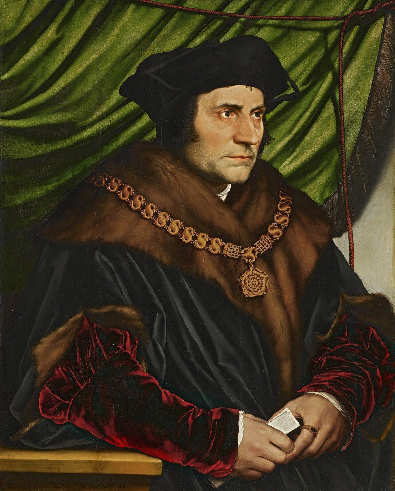 Tomas Morus Źródło: Hans Holbein Młodszy, Tomas Morus, 1527, olej na drewnie, Frick Collection, Nowy Jork, domena publiczna.