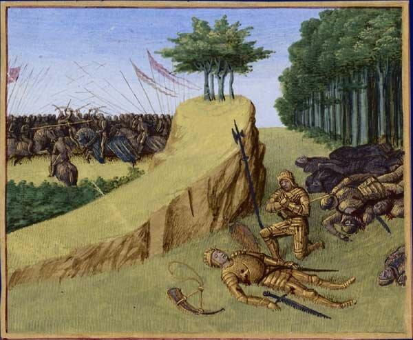 Śmierć hrabiego Rolanda wbitwie (na obrazie widoczny wąwóz Roncevaux), [w:] Wielkie Kroniki Francji Śmierć hrabiego Rolanda wbitwie (na obrazie widoczny wąwóz Roncevaux), [w:] Wielkie Kroniki Francji Źródło: Jean Fouquet, ok. 1455-1460, domena publiczna.