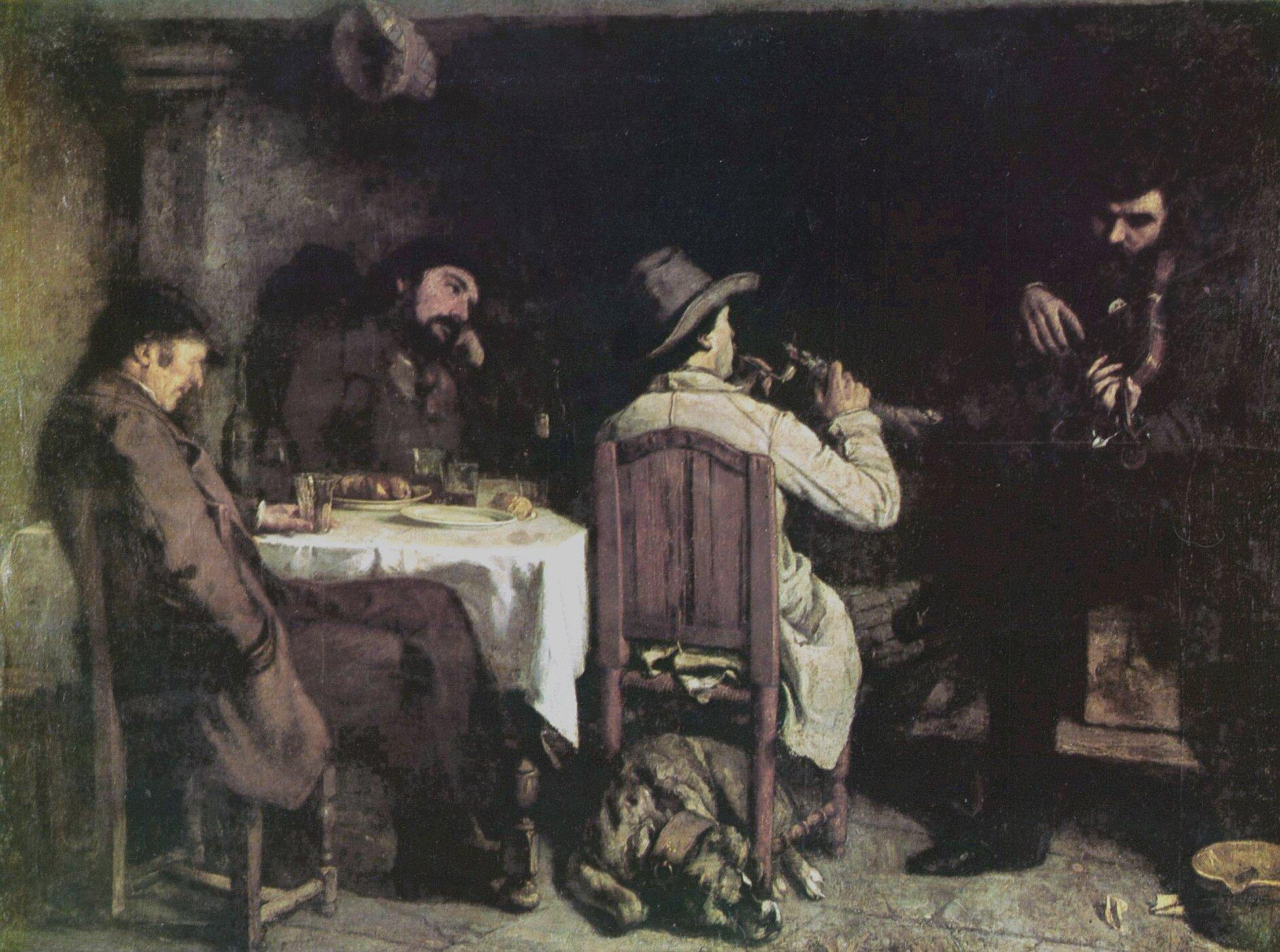 Obraz  przedstawia czterech mężczyzn. Trzech siedzi przy stole, czwarty siedzi nieco obok igra na jakimś instrumencie. Pod krzesłem jednego zmężczyzn leży pies. Wszyscy ubrani są wproste stroje. Wnętrze pomieszczenia, wktórym siedzą, tonie wpółmroku..