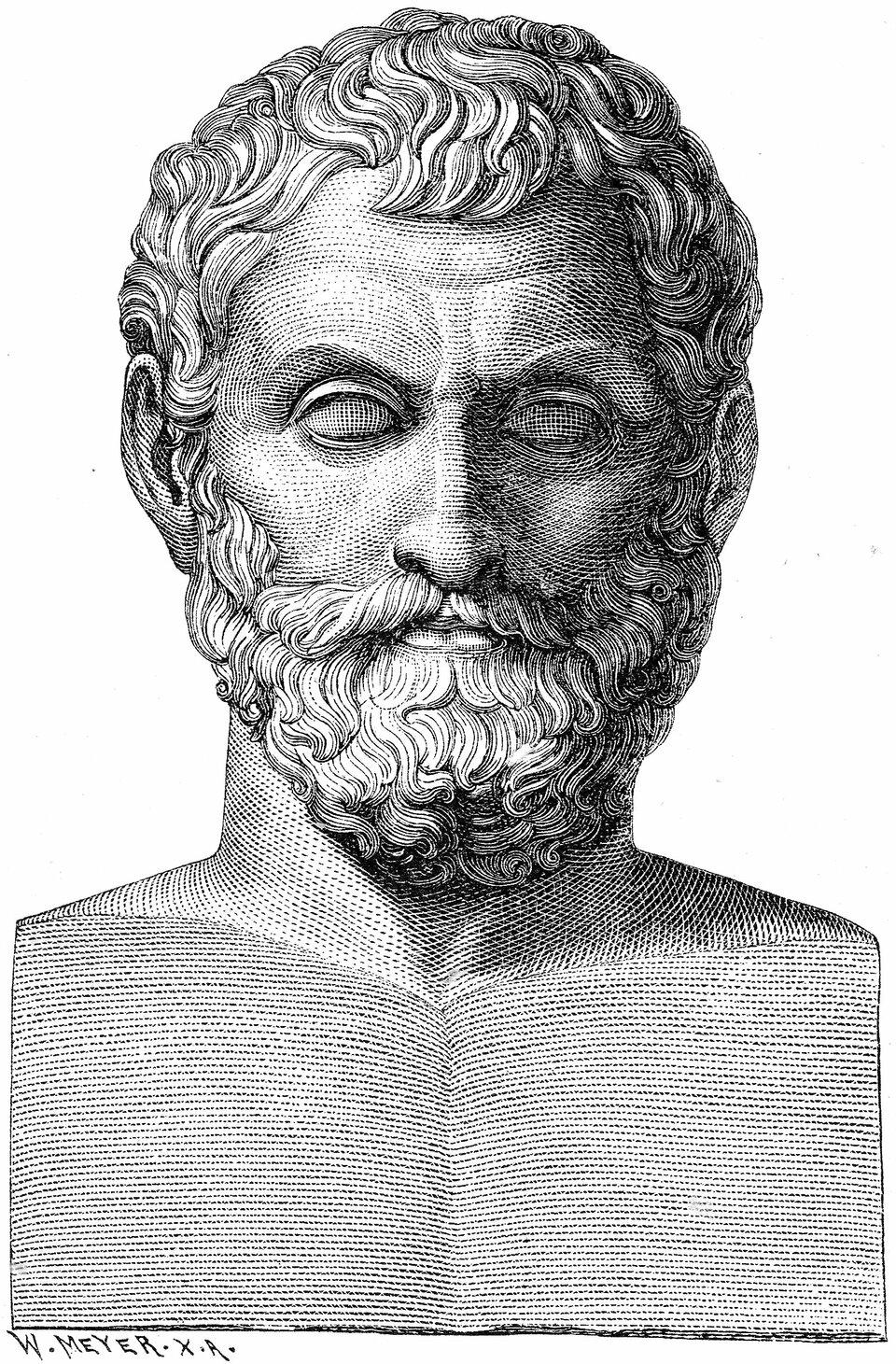Ilustracja przedstawia popiersie Talesa zMiletu.