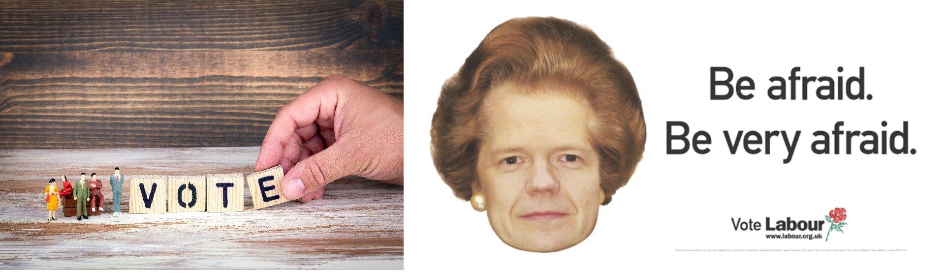 """Ilustracja przedstawia przykład reklamy wyborczej zWielkiej Brytanii. Po lewej stronie znajduje się obrazek przedstawiajacy małych ludzi. Duża ręka ustawia zklocków, wielkości ludzików, napis: """"VOTE"""". Po prawej stronie przedstawiona jest głowa kobiety inapis: """"Be afraid. Be very afraid""""."""