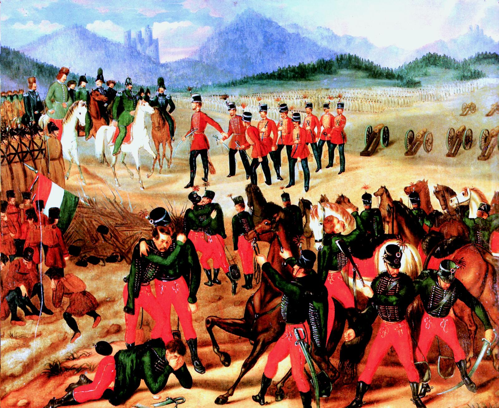 Kapitulacja armii węgierskiej pod Világos w1849 roku Źródło: István Szkicsák-Klinovszky, Kapitulacja armii węgierskiej pod Világos w1849 roku, 1850, domena publiczna.