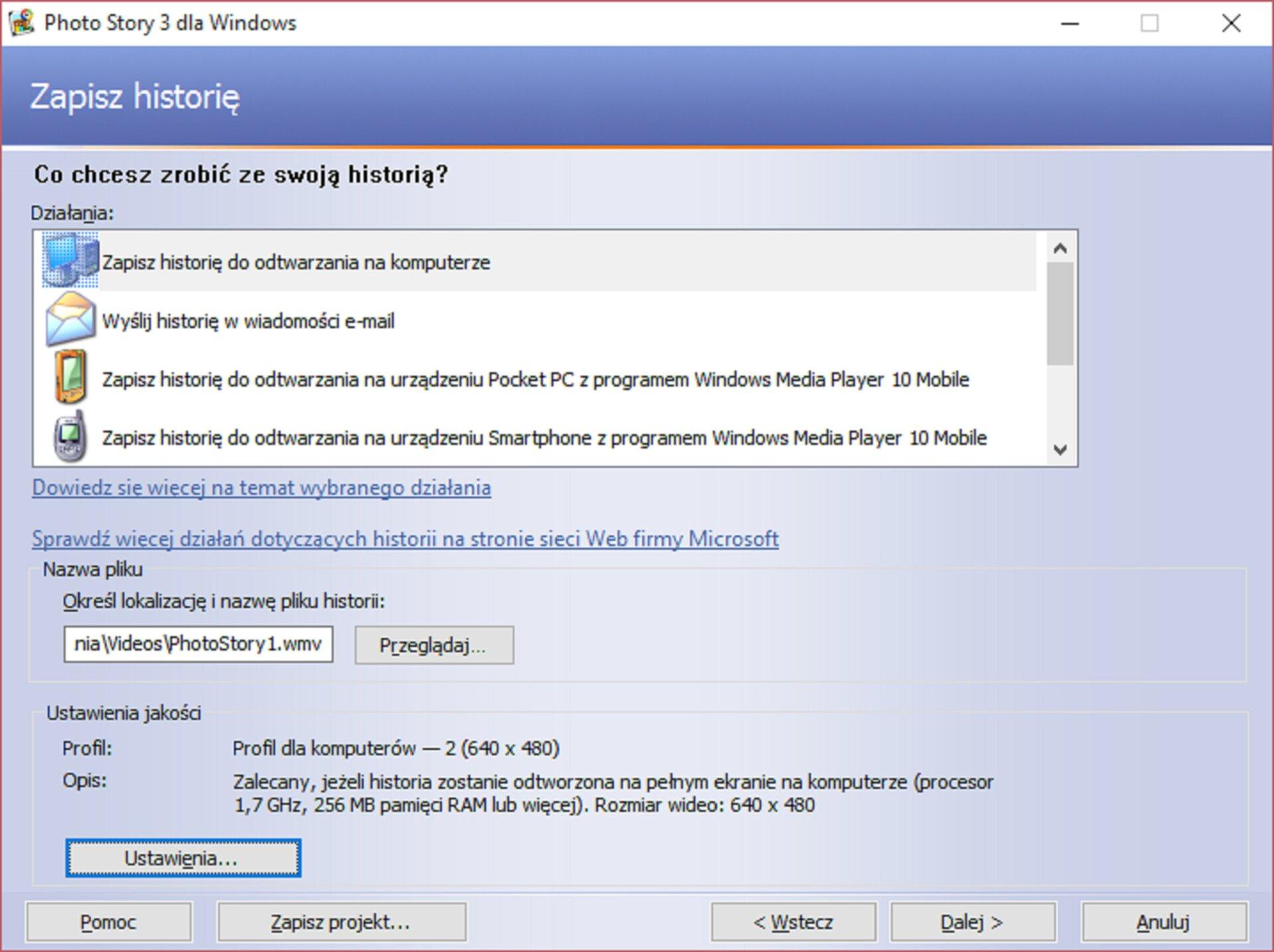 Zrzut okna: Zapisz historię wprogramie Photo Story 3 dla Windows