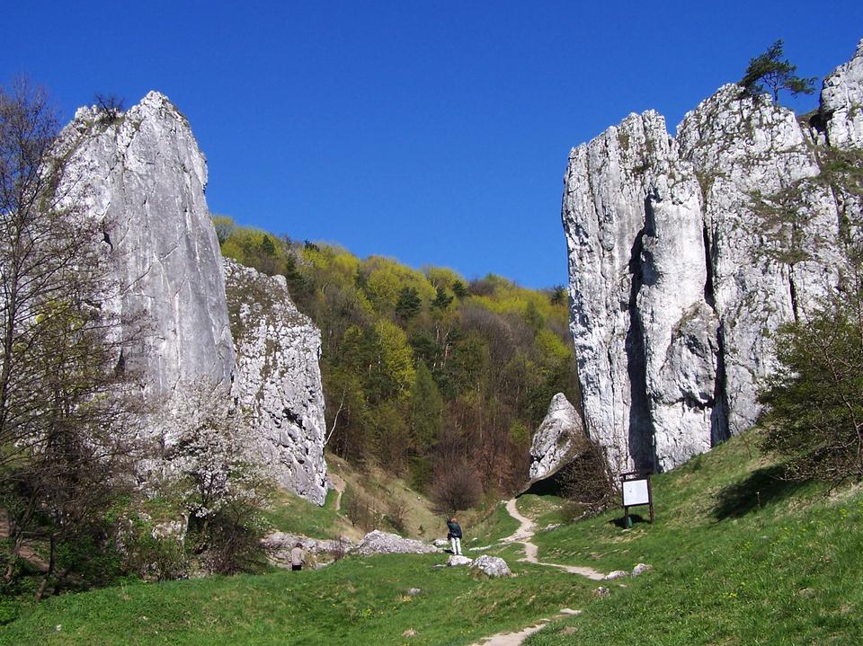 Na zdjęciu widać po dwóch stronach pionowe ściany białych skał wapiennych. Tworzą jakby bramę. Pomiędzy nimi biegnie ścieżka. Wtle widać zaczynający się zielenić las liściasty. Pomiędzy ścianami skał stoi człowiek. Skały są około dwudziestokrotnie od niego wyższe.