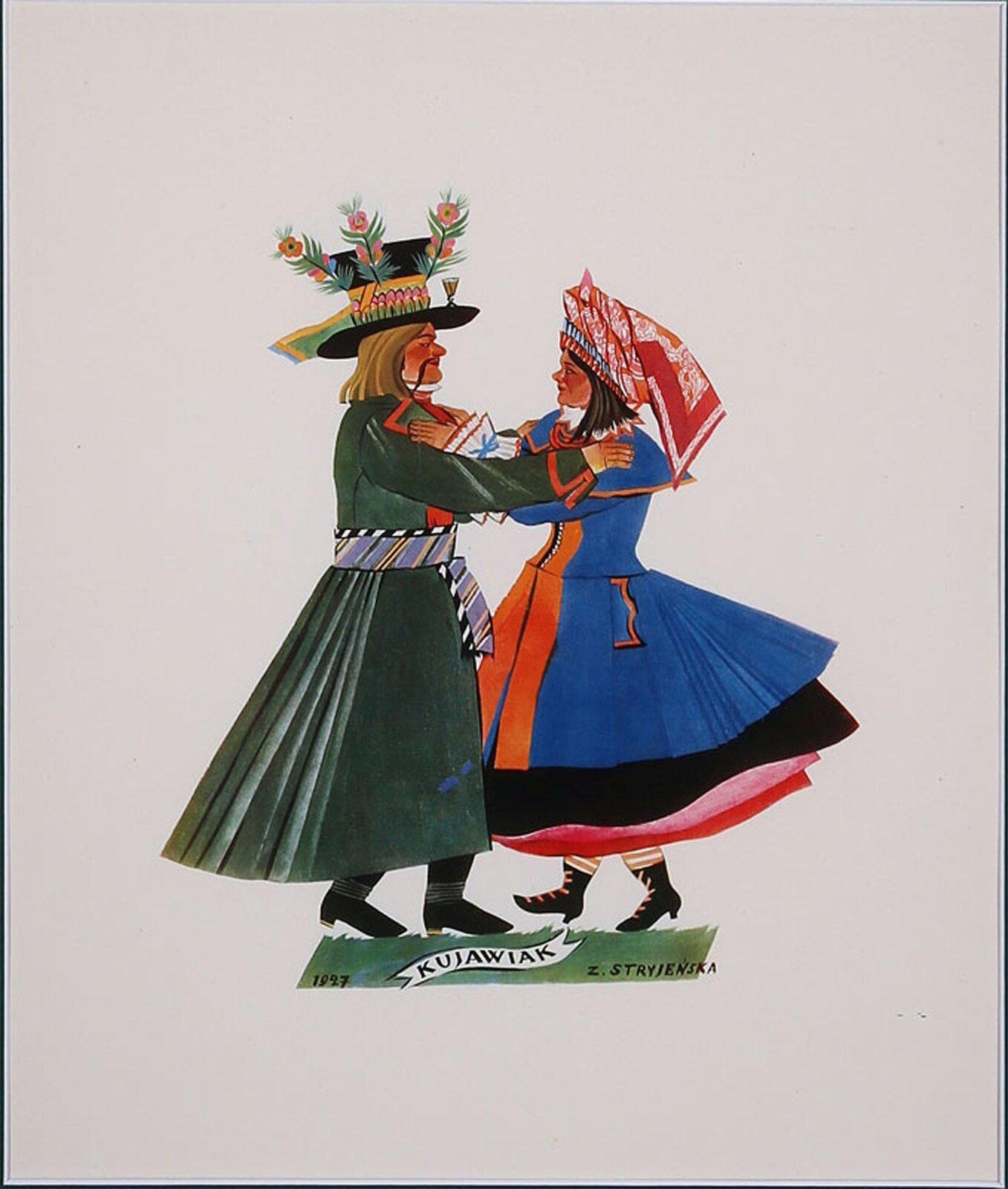 """Na ilustracji grafika Zofii Stryjeńskiej """"Kujawiak"""". Para jest zwrócona do siebie twarzami, obie osoby położyły ręcę na ramionach partnera. Mężczyzna ma bardzo długi zielony płaszcz, przewiązany pasem, na głowie wysoki czarny kapelusz ozdobiony kwiatami ipiórami. Kobieta ma na sobie przynajmniej 4 spódnice iniebieski płaszcz zpelerynką. Na głowie ma duży, czerwono-biały czepiec."""