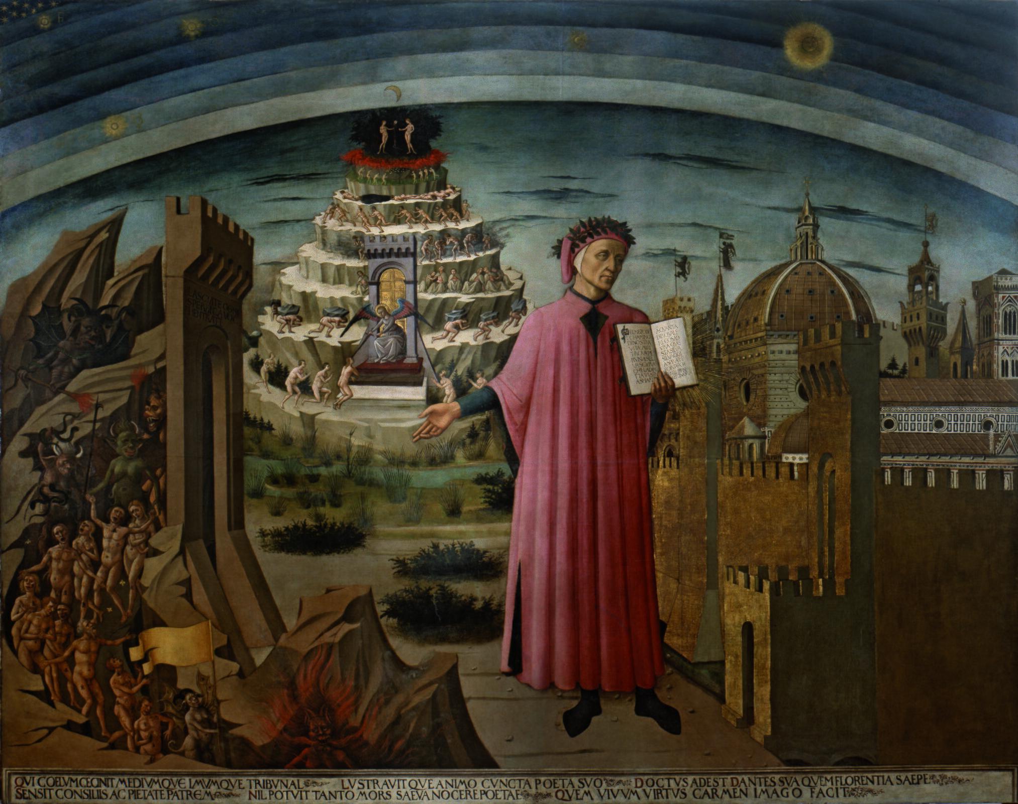 Boska komedia Dantego Źródło: Domenico di Michelino, Boska komedia Dantego, 1465, fresk, Santa Maria del Fiore we Florencji, domena publiczna.