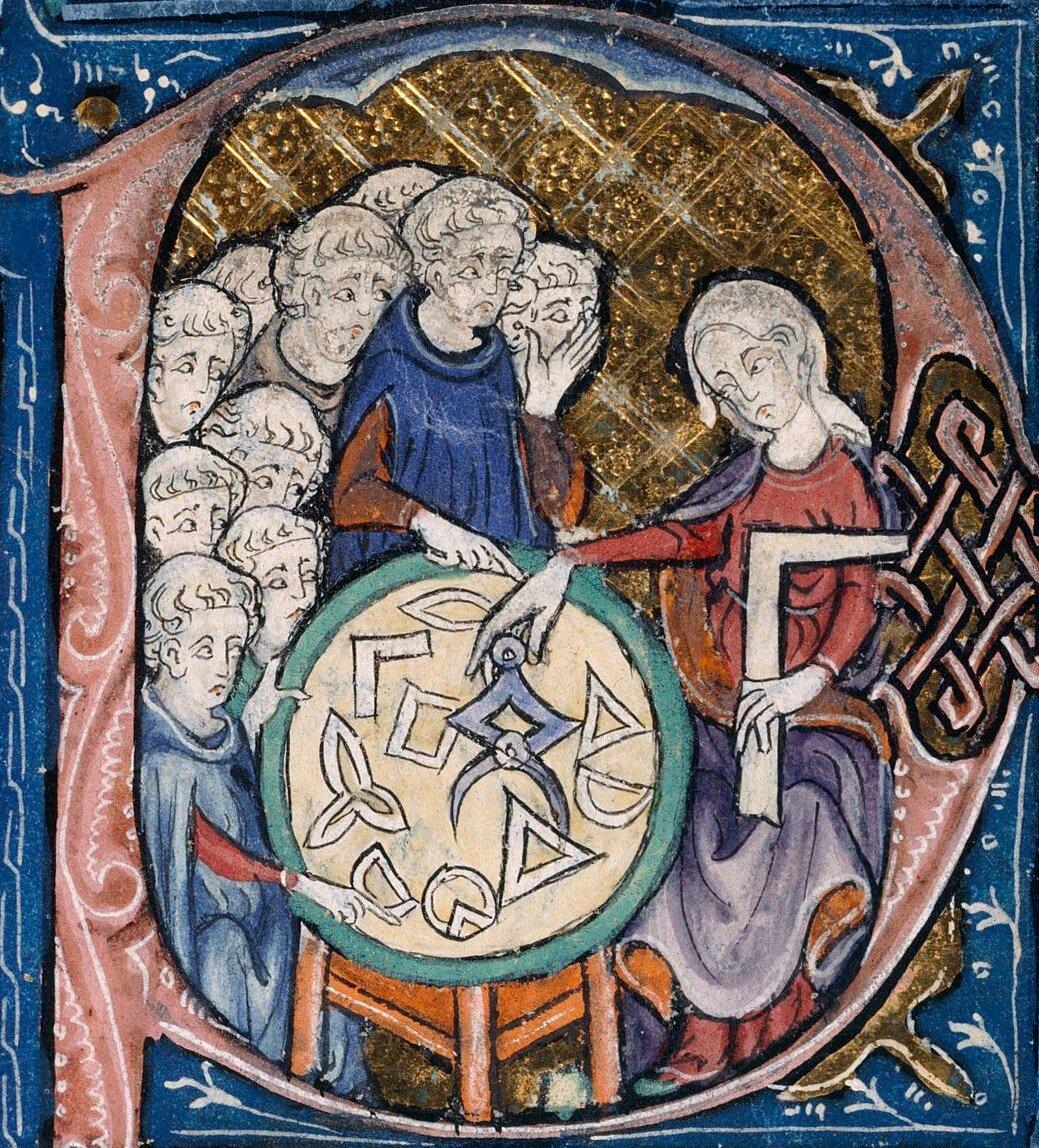 Kobieta nauczająca mnichów geometrii Źródło: nieznany autor, Kobieta nauczająca mnichów geometrii, 1309-1316, domena publiczna.