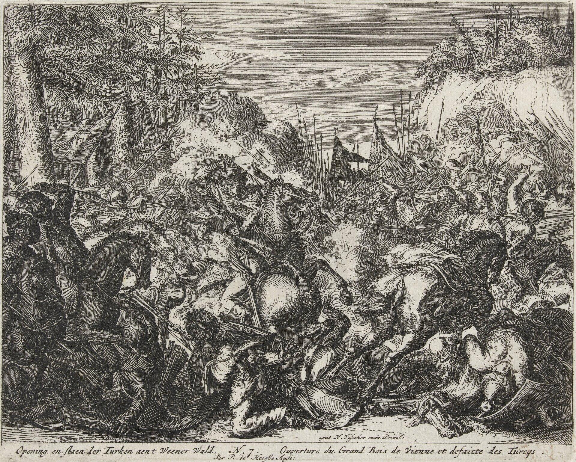 Oblężenie Wiednia - seria Walka między oddziałami habsburskimi iTurkami wLasku Wiedeńskim. Źródło: Romeyn de Hooghe, Oblężenie Wiednia - seria, 1684, akwaforta, Rijksmuseum (hol. Muzeum Państwowe) wAmsterdamie, domena publiczna.