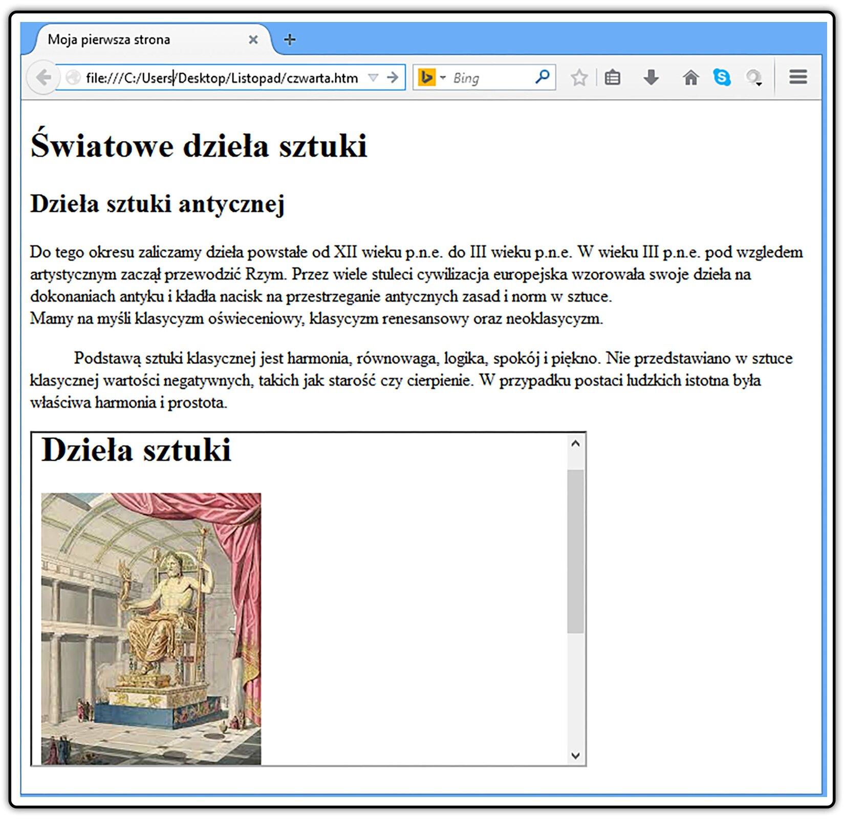 Zrzut widoku strony dokumentu HTML zramka pływającą zawierającą inną stronę