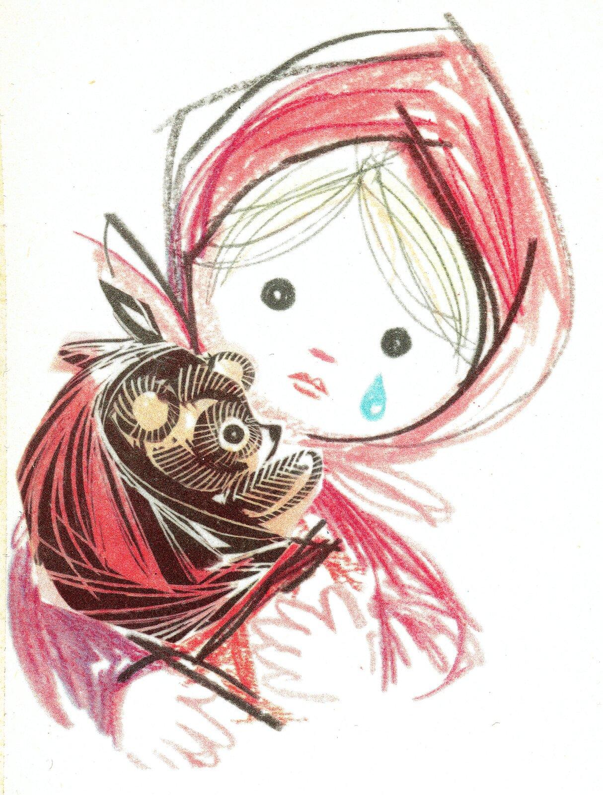 """Ilustracja przedstawia pracę Adama Kiliana zksiążki Janiny Porazińskiej, """"Pamiętnik Czarnego Noska"""". Ukazuje dziewczynkę wczerwonej chustce. Po jej twarzy płynie łza. Na rękach trzyma brązowego misia."""