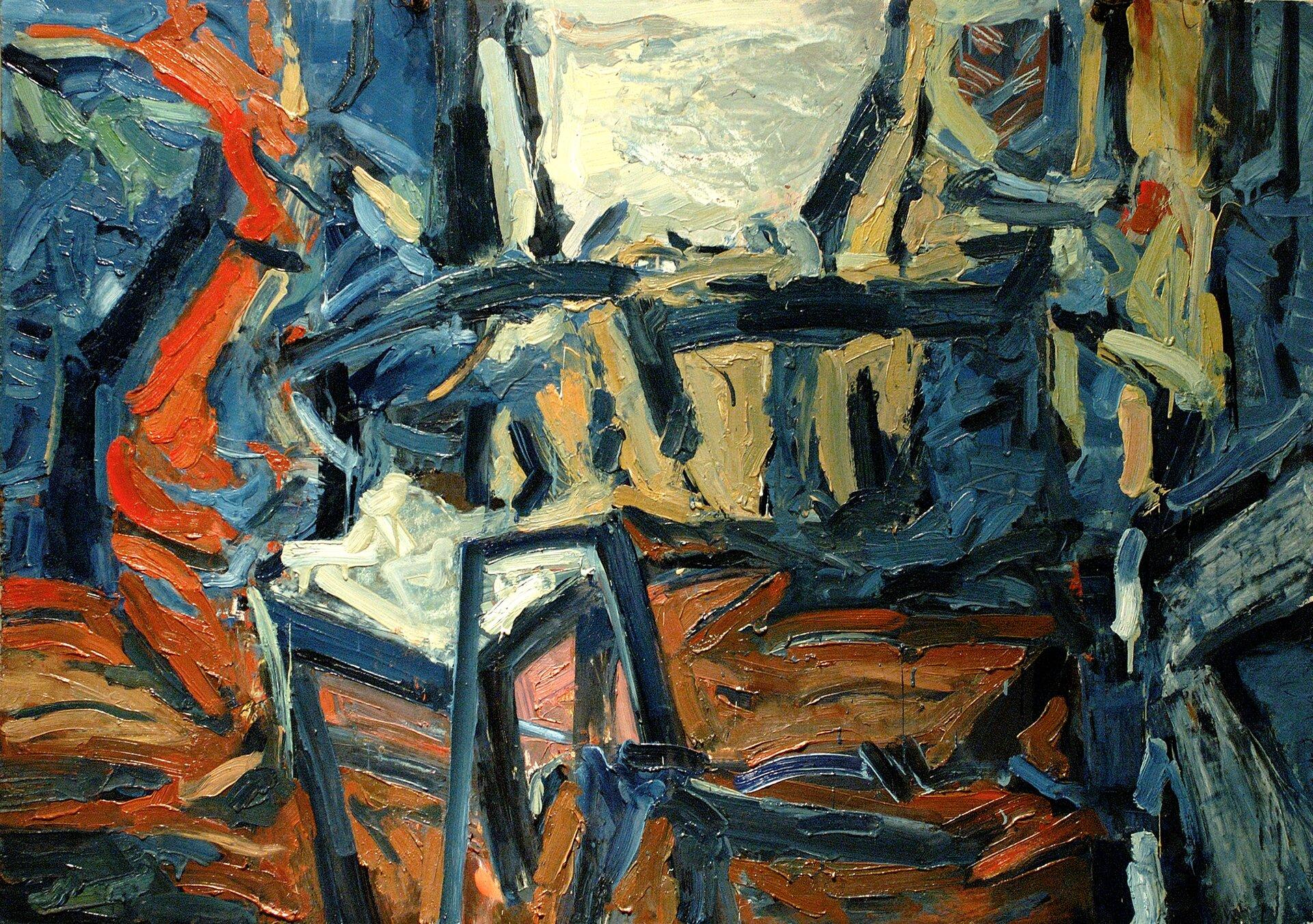 """Ilustracja przedstawia obraz olejny """"Pracownia"""" autorstwa Jacka Gramatyki. Dzieło ukazuje ekspresyjną kompozycję abstrakcyjną, namalowaną dynamicznymi pociągnięciami pędzla. Artysta wswej pracy użył kontrastowych, niemal czystych kolorów. Szarości, granaty ibłękity zderzył zoranżami, czerwieniami, ugrami ibrązami. Farba kładziona jest grubo, impasto."""