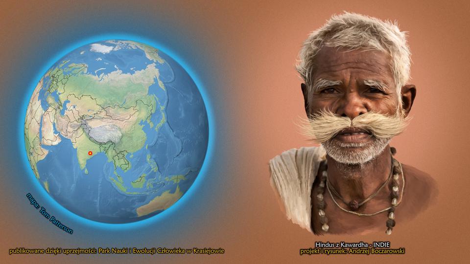 Na ilustracji kula ziemska, zaznaczono punkt wIndiach. Obok twarz mężczyzny zdługimi jasnymi wąsami isiwymi krótkimi włosami. Ciemna cera. Podpis – Hindus zKawardha.