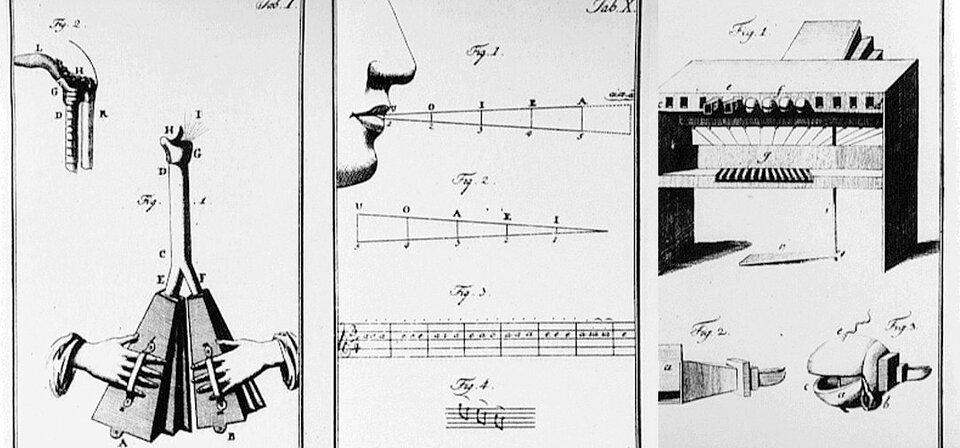 Mechanizm ludzkiej mowy Wolfgang von Kempelen (1734–1804); węgierski baron, fizyk iinżynier, wynalazca lalki potrafiącej wymawiać słowa izdania, autor pracy Mechanizm ludzkiej mowy. Źródło: Wolfgang von Kempelen, Mechanizm ludzkiej mowy, 1791, rycina, domena publiczna.