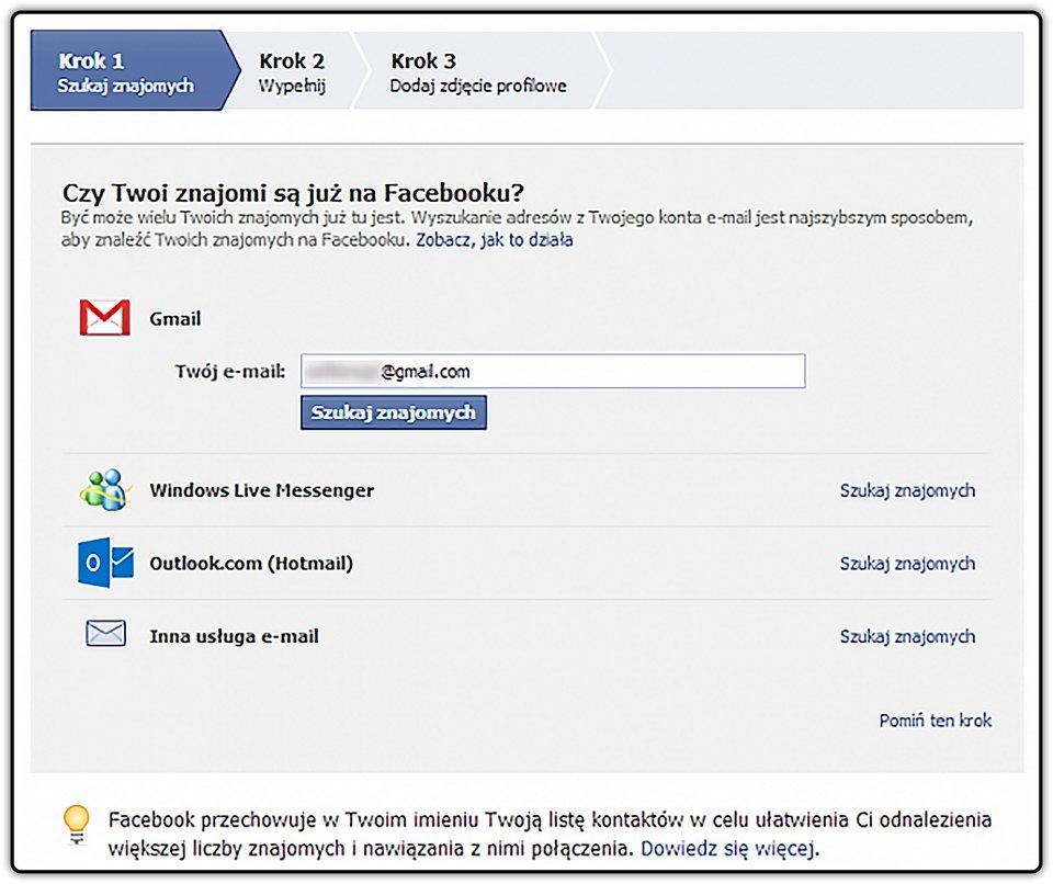 Zrzut okna rejestracji na Facebooku, wktórym będzie możliwe dokonanie importu kontaktów ztwojej skrzynki pocztowej.