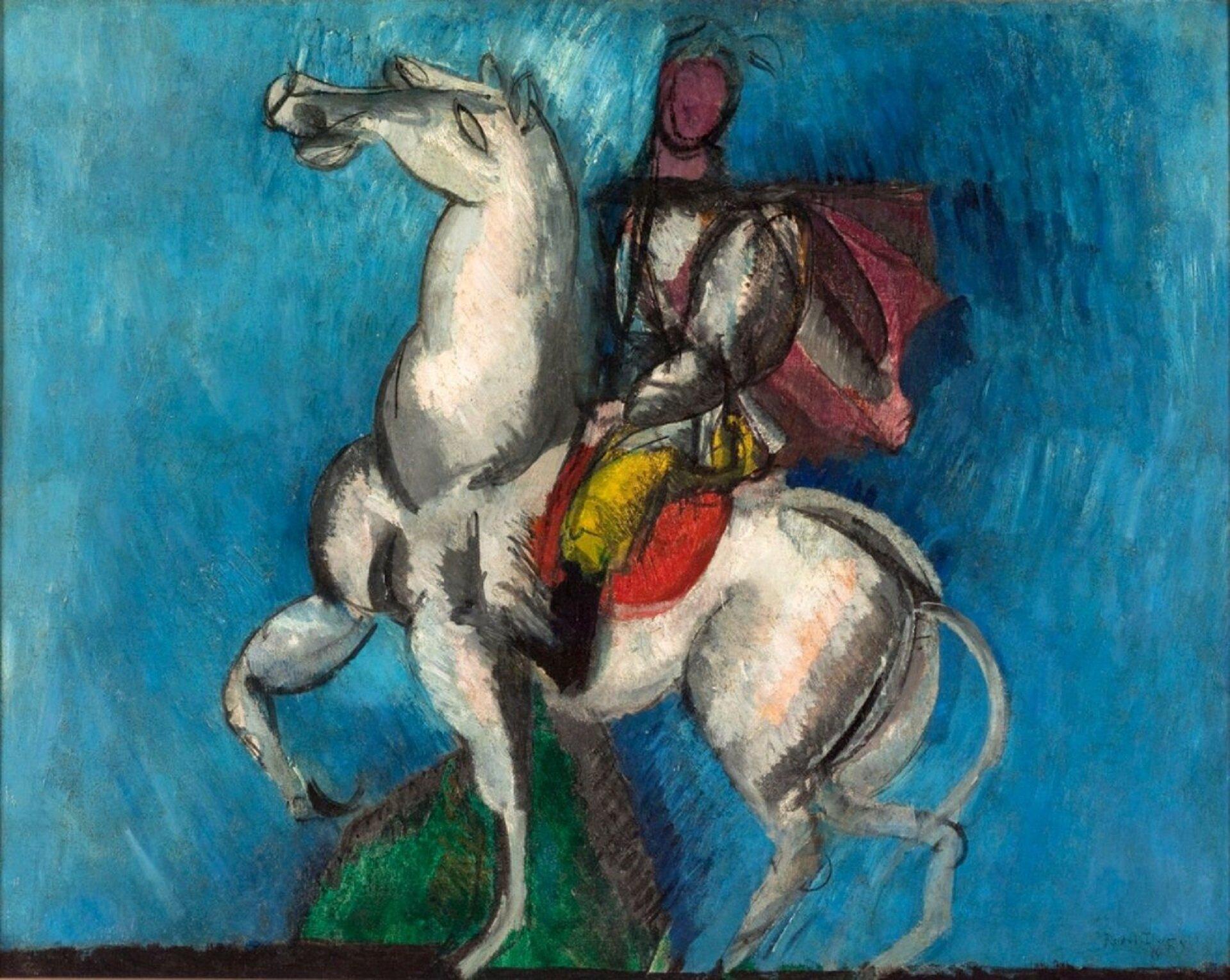 """Ilustracja przedstawia obraz Raoula Dufy'ego """"Biały jeździec"""". Na obrazie ukazany jest koń białej maści oraz ujeżdżający go rycerz. Postać ubrana jest wzbroję oraz żółte spodnie. Tło zostało wykonane wniebieskich odcieniach."""