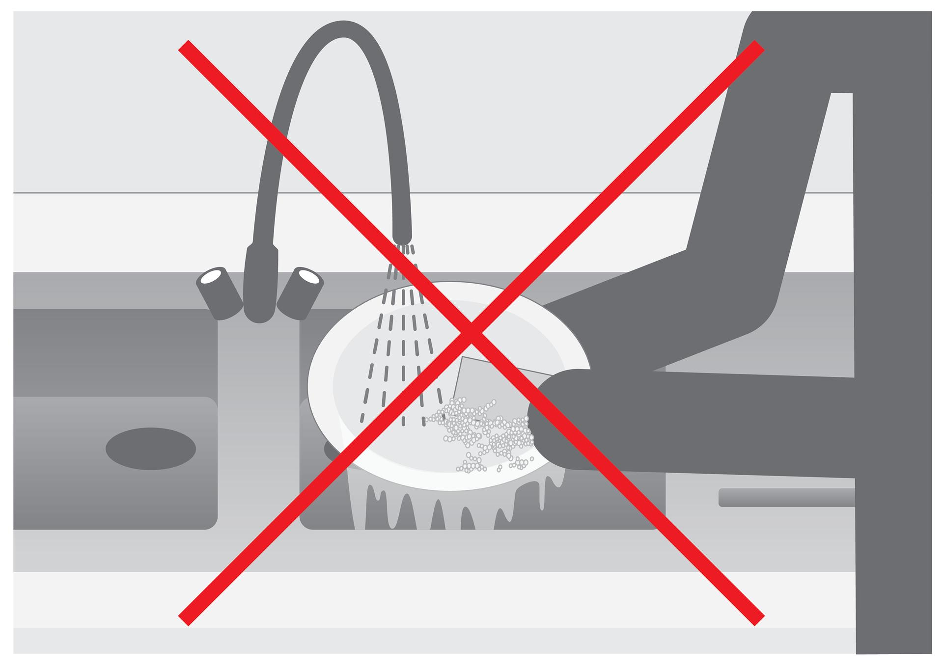 Szósta ilustracja wgalerii. Przedstawia czarno biały symboliczny rysunek zmywania pojedynczego talerza wzlewie pod bieżącą wodą. Rysunek jest przekreślony czerwonym krzyżem.