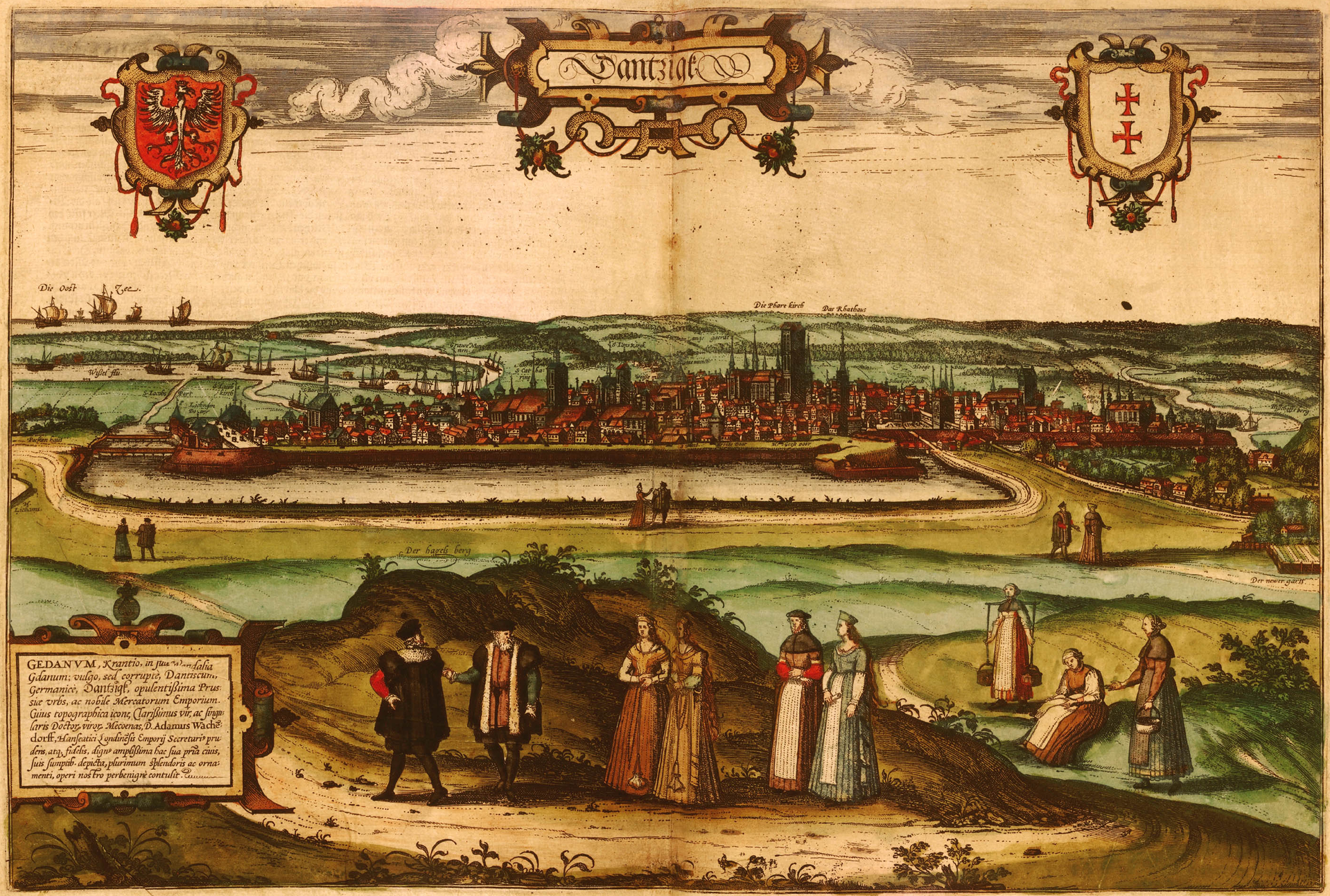 Dantzig / Gadenum Panorama Gdańska z1575 r. Miasto, podczas elekcji po ucieczce Henryka Walezego, poparło kandydaturę cesarza Maksymiliana II, co spowodowało konflikt zRzeczpospolitą iwojnę (1576-1577). Stefan Batory zmusił jednak miasto do uległości. Ilustracja pochodzi zII tomudzieła Georga Brauna (kartograf) iFransa Hogenberga (malarz, sztycharz, grafik)Miasta świata. Źródło: Frans Hogenberg, Dantzig / Gadenum, 1575, miedzioryt kolorowany, domena publiczna.