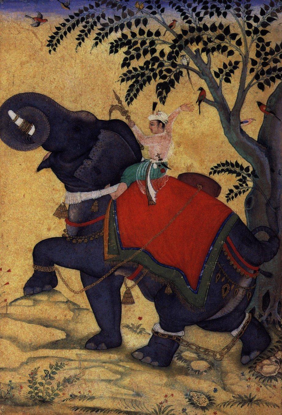Akbar na słoniu Największy władca zdynastii Mogołów – Akbar na słoniu Źródło: Moghulschule, Akbar na słoniu, domena publiczna.