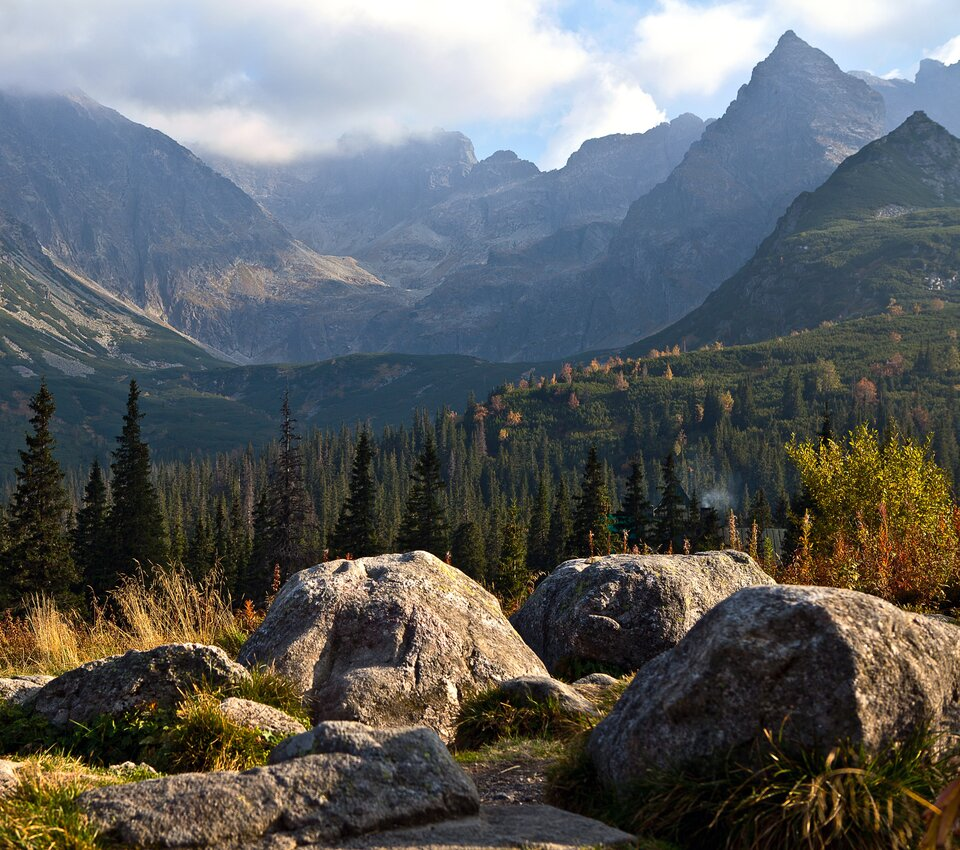 Na zdjęciu wysokie, strome, skaliste pasmo górskie. Ustóp pasma las. Na pierwszym planie głazy.