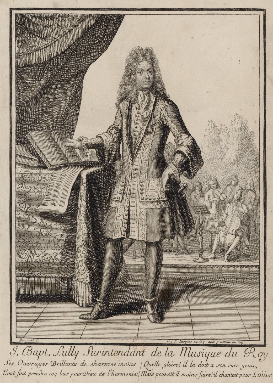 Jean-Baptiste Lully Jean-BaptisteLully (1632-1687) – urodzony we Florencji, od 14. roku życia mieszkający wParyżu kompozytor, jeden znajbardziej znanych muzyków barokowych Francji. Twórca francuskiej opery narodowej iróżnego typu utworów muzycznych.Podczas dyrygowania orkiestrą w1687 r. zranił się wstopę laską dyrygencką ikilka dni później zmarł wwyniku infekcji. Źródło: Henri Bonnart, Jean-Baptiste Lully, 1711, Francuska Biblioteka Narodowa, domena publiczna.