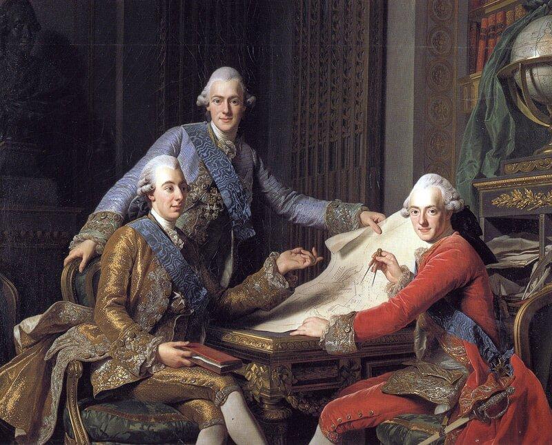 Król Gustaw III zbraćmi Źródło: Alexander Roslin, Król Gustaw III zbraćmi, 1771, Olej na płótnie, Nationalmuseum, domena publiczna.