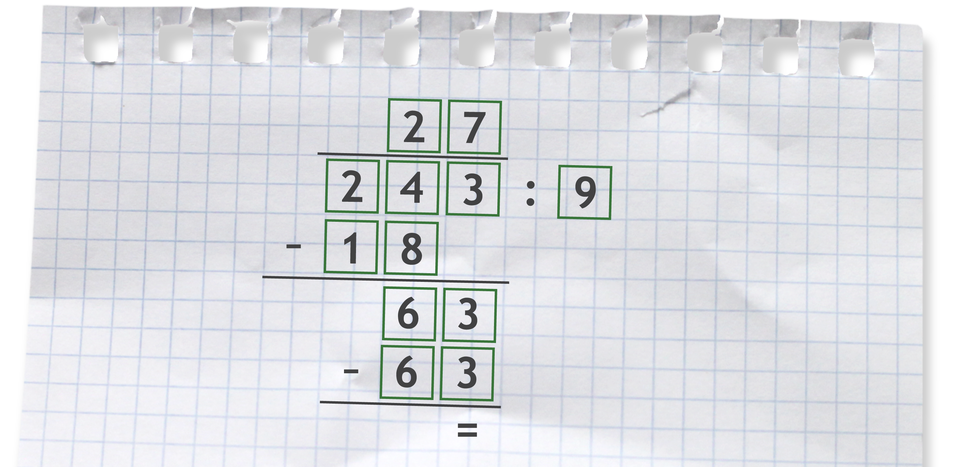 Przykład dzielenia sposobem pisemnym. 243 dzielone przez 9 =27.