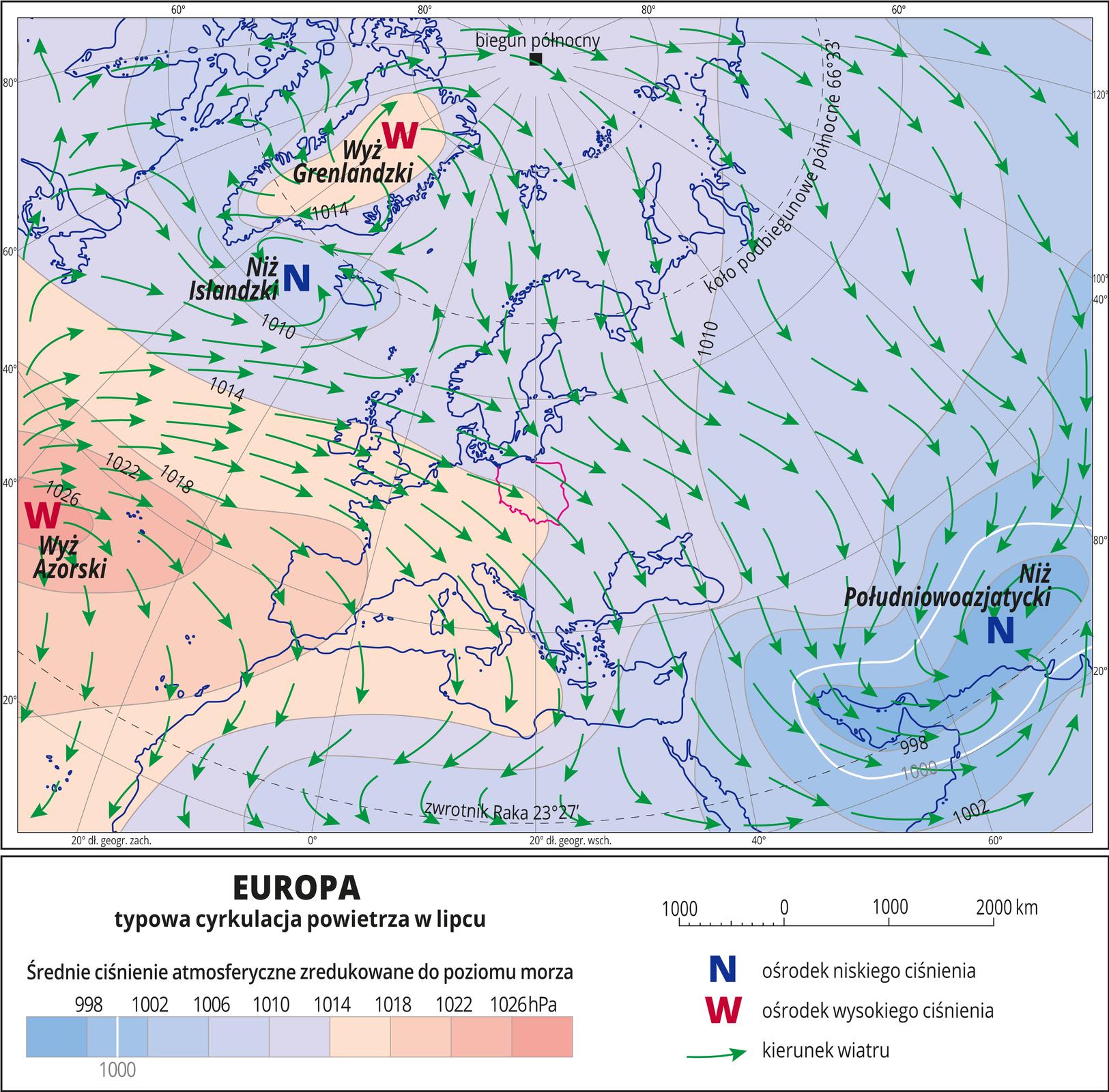 Ilustracja przedstawia mapę Europy iobrazuje typową cyrkulację powietrza wlipcu. Na mapie kolorami zaznaczono wartości ciśnienia atmosferycznego zredukowane do poziomu morza. Odcienie koloru pomarańczowego oznaczają obszary owysokim ciśnieniu, odcienie koloru niebieskiego oznaczają obszary oniskim ciśnieniu. Czerwonymi literami Wopisano ośrodki wysokiego ciśnienia (Wyż Grenlandzki, Wyż Azorski), niebieskimi literami Nopisano ośrodki niskiego ciśnienia (Niż Islandzki, Niż Południowoazjatycki). Zielonymi strzałkami oznaczono kierunki wiatru (od wyżu do niżu). Na mapie opisano izobary co cztery hektopaskale. Najniższa wartość wynosi dziewięćset dziewięćdziesiąt osiem hektopaskali, najwyższa wartość wynosi tysiąc dwadzieścia sześć hektopaskali. Mapa pokryta jest równoleżnikami ipołudnikami. Dookoła mapy wbiałej ramce opisano współrzędne geograficzne co dwadzieścia stopni. Na dole mapy wlegendzie opisano kolory iznaki użyte na mapie.