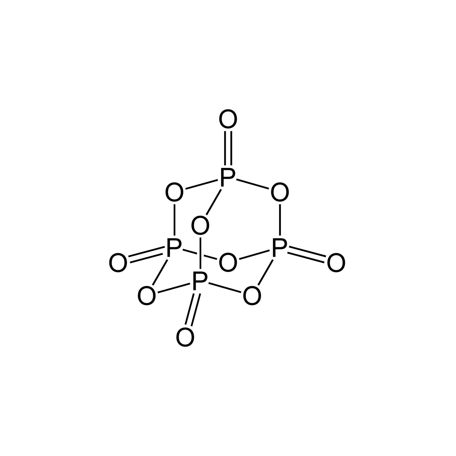 Ilustracja budowy cząsteczki tlenku fosforu pięć wpostaci wzoru strukturalnego owyglądzie bazowanym na modelu zaprezentowanym na ilustracji poprzedniej. Występują tu zarówno wiązania pojedyncze jak ipodwójne oraz na pozór krzyżujące się wiązania będące wrzeczywistości rozdzielnymi.