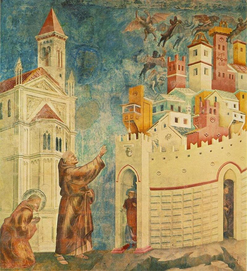Święty Franciszek wypędza demony zArezzo. To ilustracja jednego zcudów dokonanych przez świętego. Według podań mieszkańcy miasta Arezzo żyli wstrachu przed siłami piekielnymi, od których uwolnił ich św. Franciszek. Święty Franciszek wypędza demony zArezzo. To ilustracja jednego zcudów dokonanych przez świętego. Według podań mieszkańcy miasta Arezzo żyli wstrachu przed siłami piekielnymi, od których uwolnił ich św. Franciszek. Źródło: Giotto di Bondone, 1288-1292, fresk, domena publiczna.