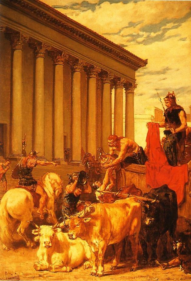 Łupienie Rzymu przez Wizygotów Źródło: Évariste-Vital Luminais, Łupienie Rzymu przez Wizygotów, domena publiczna.