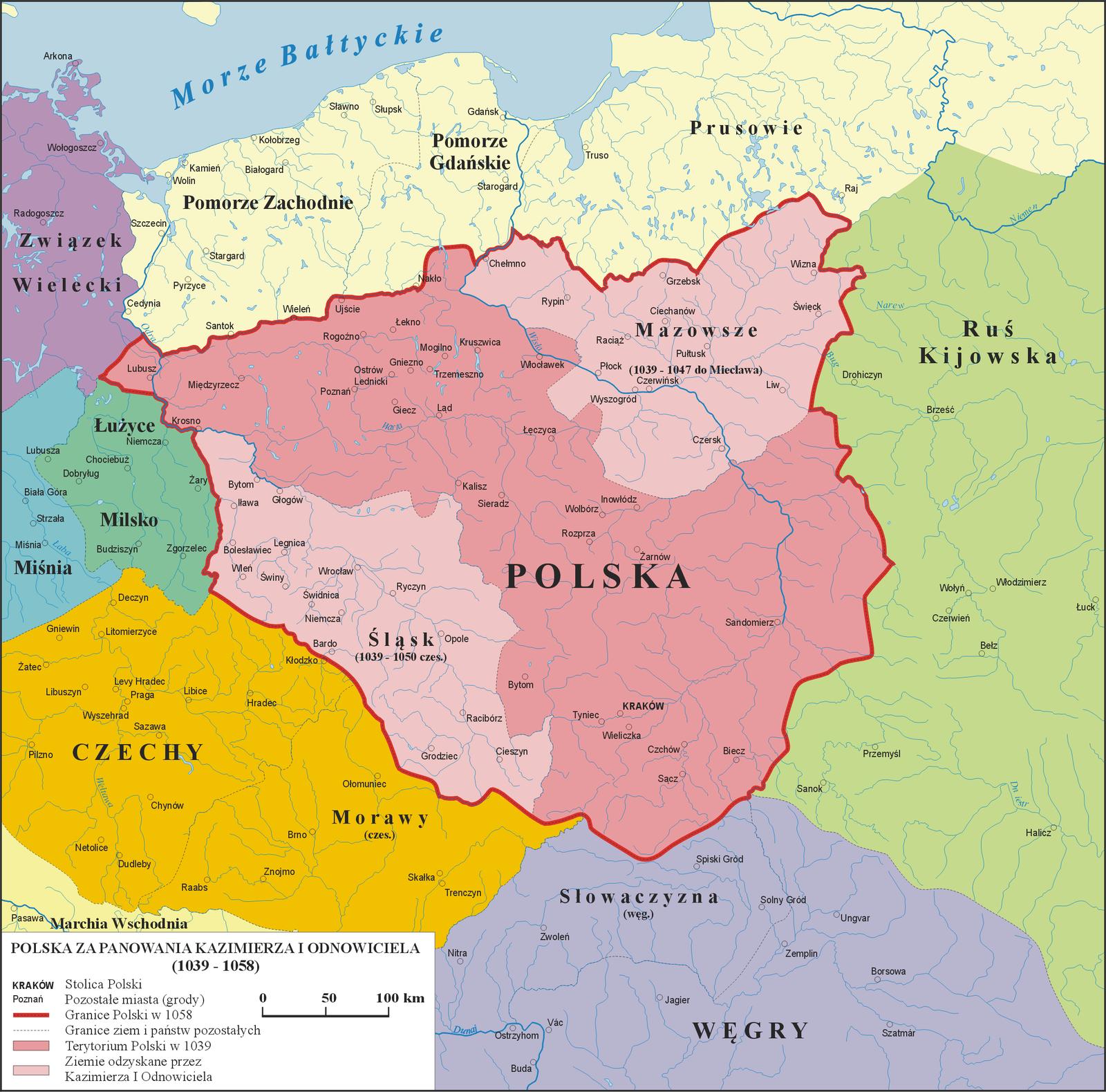 Mapa Polski za panowania Kazimierza IOdnowiciela (1039 - 1058)