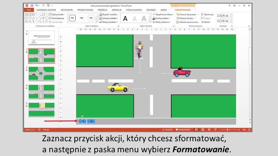 Slajd 1 galerii: Formatowanie przycisków akcji wprogramie MS PowerPoint