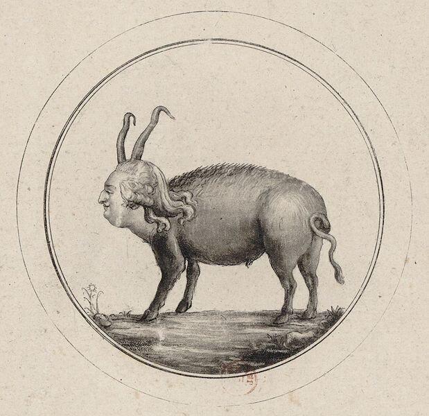 Karykatura Ludwika XVI. Został na niej przedstawiony jako postać świni zgłową króla.